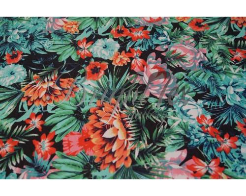 Джинса «Цветы на черном»