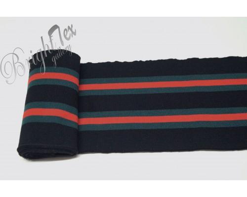 Подвяз черный с зелеными и красными полосами