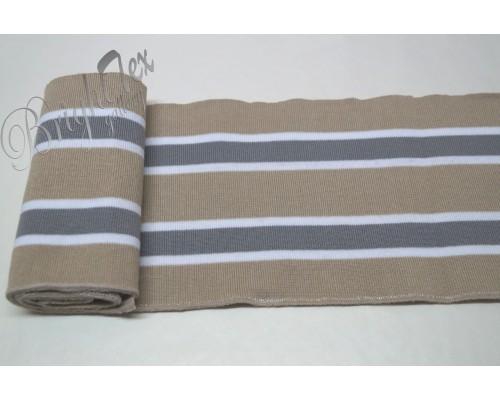 Подвяз бежевый с серыми и белыми полосами