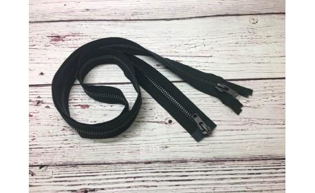 Молния Металл черный никель  двухзамковая 100 см Тип 5 разъёмная