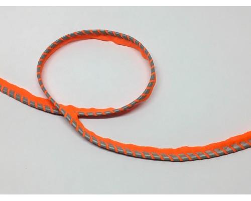 Кант светоотражающий Оранжевый узор «Полосы»