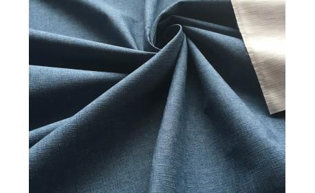 Мембранная ткань с фактурой «лён» цвет Джинс