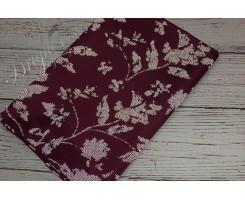 Курточная ткань «Светоотражающие цветы» на бордо