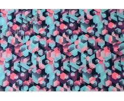 Курточная ткань « Геометрия » в розово-фиолетовых тонах