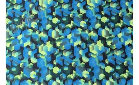 Курточная ткань « Геометрия» в салатово-синих тонах