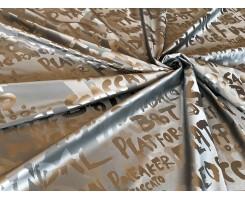 Курточная ткань «Надписи» цвет серебро