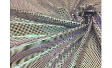 Ткань подкладочная (фольгированная) «Хамелеон» на белом