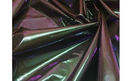 Ткань подкладочная (фольгированная) «Хамелеон» на чёрном