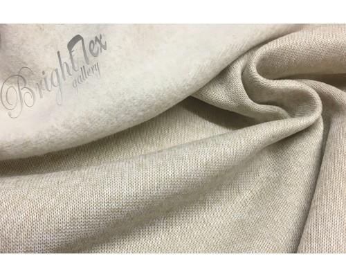 Флис «вязанный меланж» бежевый с белым